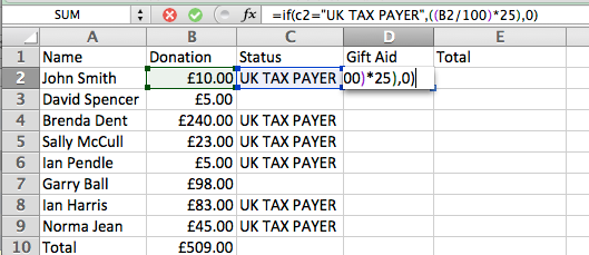 Using the if statement to calculate gift aid in excel welcome to ifc2uk tax payerb2100250 negle Images